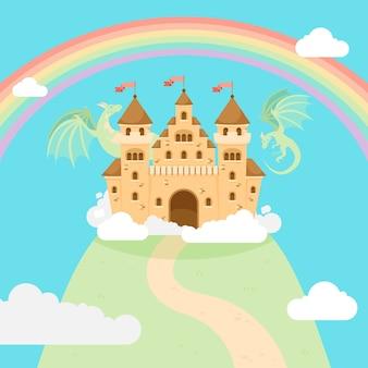 Castelo mágico de conto de fadas em uma colina