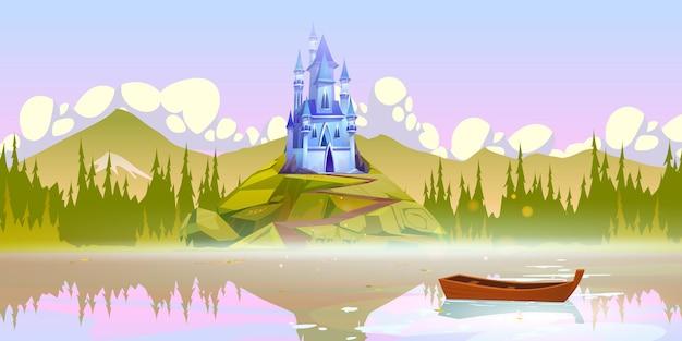 Castelo mágico no topo da montanha perto do cais do rio com o barco na superfície da água no dia de verão