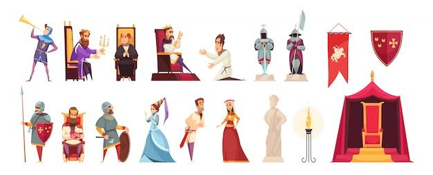 Castelo medieval atributos habitantes planas ícones conjunto com malhas rei senhor senhora heráldica bandeira isolada