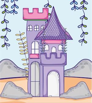 Castelo medieval com folhas de plantas de galhos