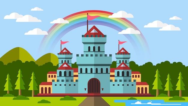 Castelo medieval de fantasia com arco-íris