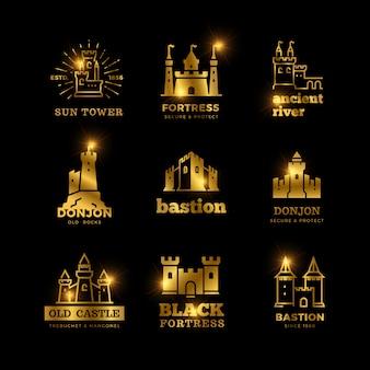Castelo medieval e cavaleiro fortaleza antiga real logotipo