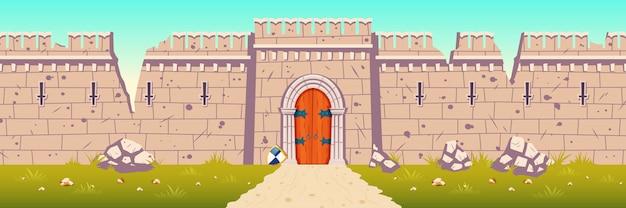 Castelo medieval quebrado, ilustração de parede arruinada dos desenhos animados