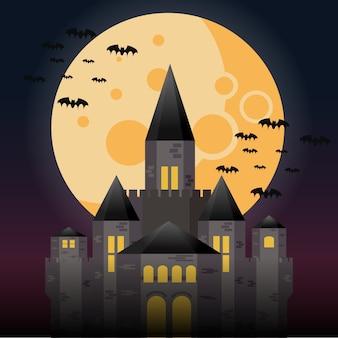 Castelo misterioso sob a lua cheia