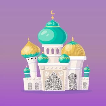 Castelo muçulmano. mesquita islâmica dos desenhos animados. ilustração.