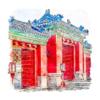 Castelo pequim china esboço em aquarela.