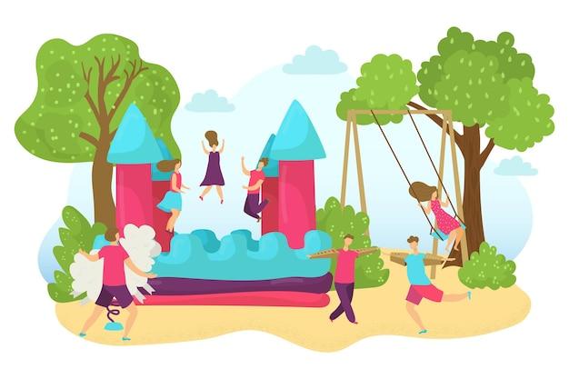 Castelo saltitante ao ar livre com diversão criança ilustração vetorial menino plana menina crianças personagem brincar no inflat ...