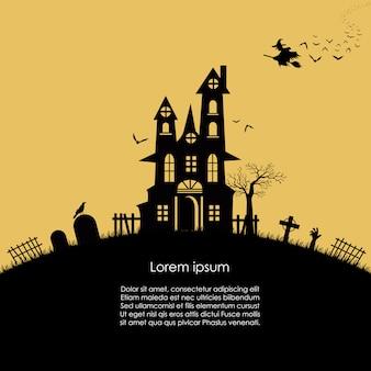 Castelo velho de halloween e banner de bruxa voadora