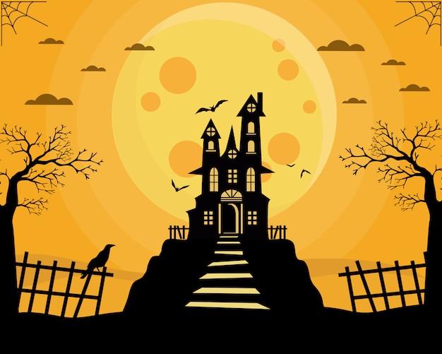 Castelo velho de halloween e bruxa voadora