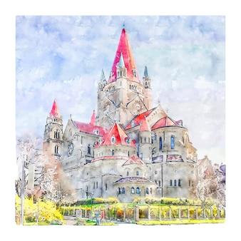 Castelo viena áustria desenho em aquarela ilustração desenhada à mão