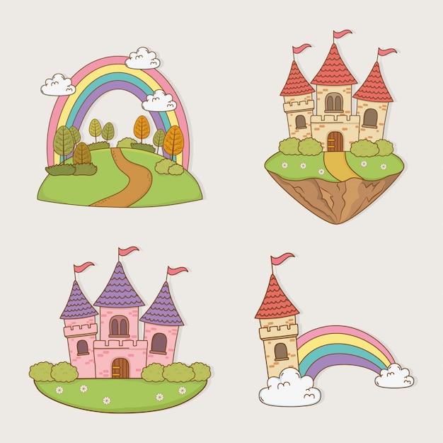 Castelos de conto de fadas definir paisagens