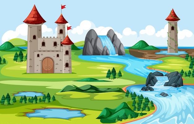 Castelos e parque natural com cena de paisagem do lado do rio