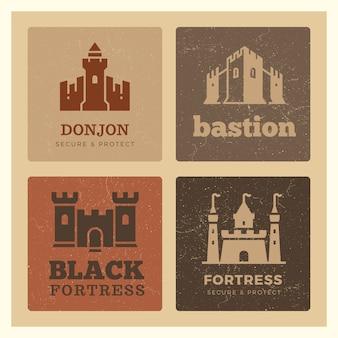 Castelos, fortaleza, design de rótulo de bastião