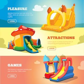 Castelos infláveis e colinas para crianças no playground