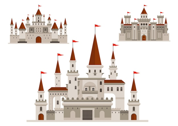 Castelos medievais do palácio do reino de conto de fadas, fortaleza fortificada do bravo rei e residência real com paredes e torres, janelas em arco vintage com varandas, torres com bandeiras