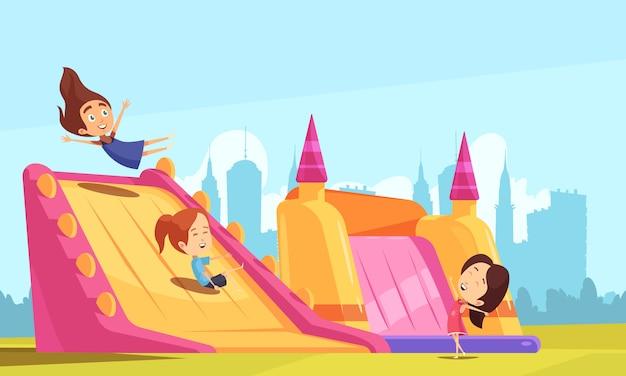 Castelos saltitantes com crianças brincando