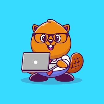 Castor bonito com laptop cartoon icon ilustração. estilo cartoon plana