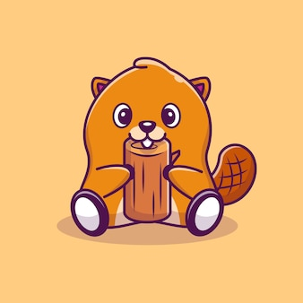 Castor bonito com madeira cartoon icon ilustração. estilo cartoon plana
