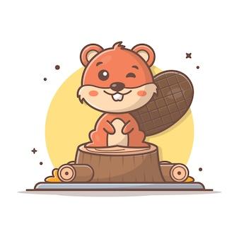 Castor bonito sentado madeira ícone dos desenhos animados ilustração. conceito de ícone de vida selvagem animal isolado. estilo flat cartoon