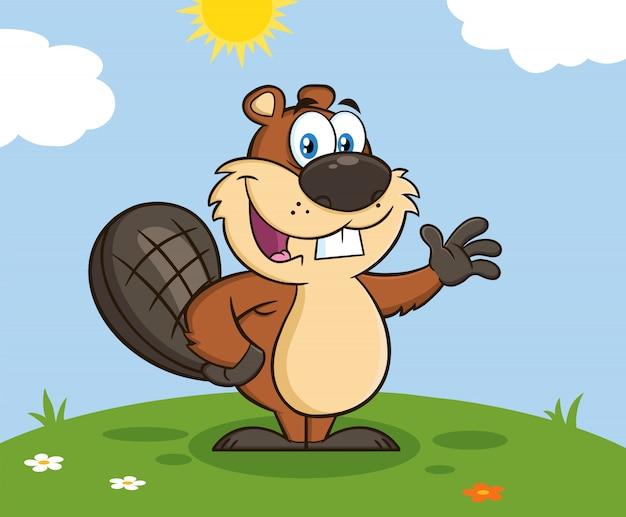 Castor cartoon personagem mascote acenando para a saudação. ilustração
