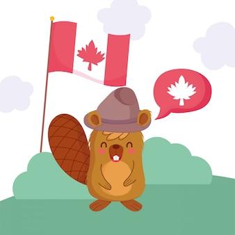 Castor com bandeira e bolha de feliz dia do canadá