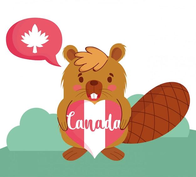 Castor com coração canadense e design de bolha