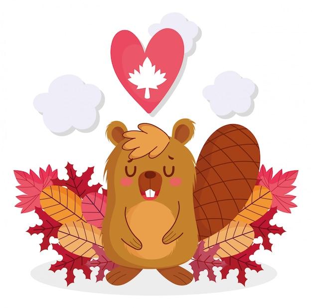Castor com coração de folha de bordo de feliz dia do canadá