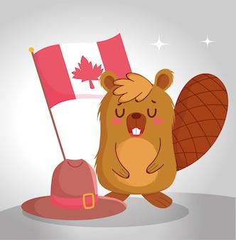 Castor com design da bandeira canadense