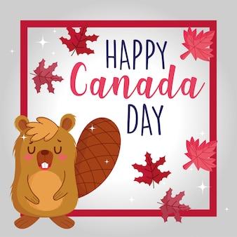 Castor com folhas de bordo canadense de quadro de feliz dia do canadá