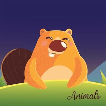 Castor de desenho animado com texto de animais na ilustração de grama