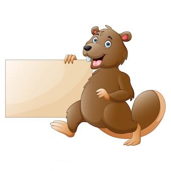 Castor dos desenhos animados, segurando um cartaz em branco