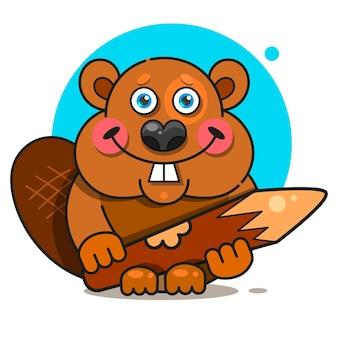 Castor em estilo simples. símbolo, ilustração do logotipo. ícone de sorriso