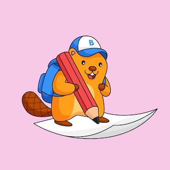 Castor escrever no papel usar lápis grande animal escola atividade esboço ilustração mascote