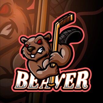 Castor esport logotipo mascote design
