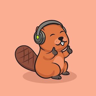 Castor fofo usando ilustração de fone de ouvido