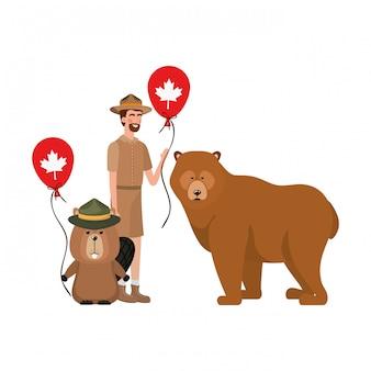Castor, urso, animal, e, ranger, de, canadá