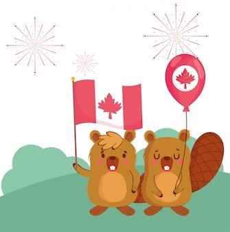 Castores com bandeira canadense e design de balão