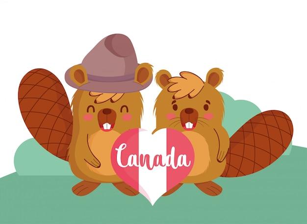 Castores com design canadense do coração