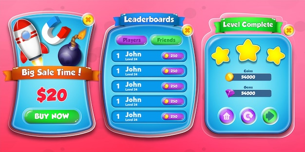 Casual cartoon kids game shop sale time, leaderboards and level complete menu pop up