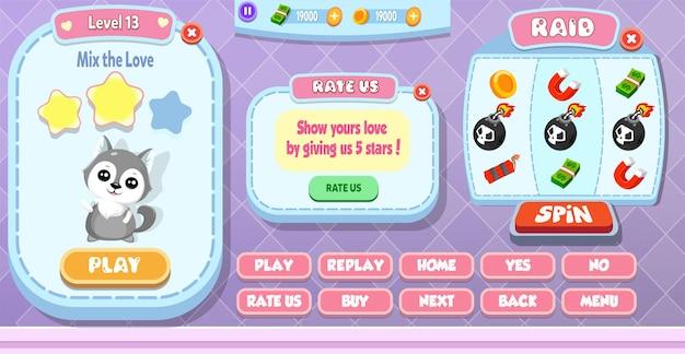 Casual cartoon kids game ui level complete, spin machine e rate us menu pop up com estrelas, botões e gato