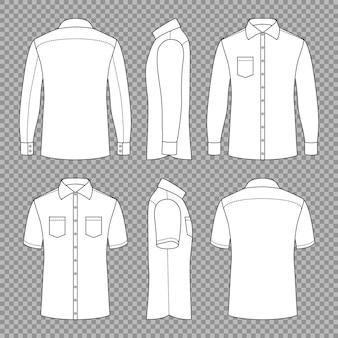 Casual mans camisas de contorno em branco