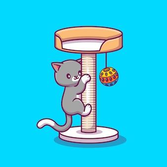 Cat clambing and playing ball bonito icon illustration bonito. conceito de ícone animal isolado. estilo cartoon plana