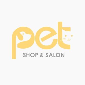 Cat dog pet shop salon design de logotipo modelo de ícone simples de vetor