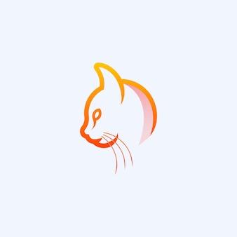 Cat line logo design premium