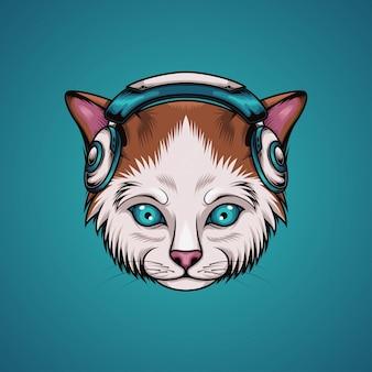 Cat listen music
