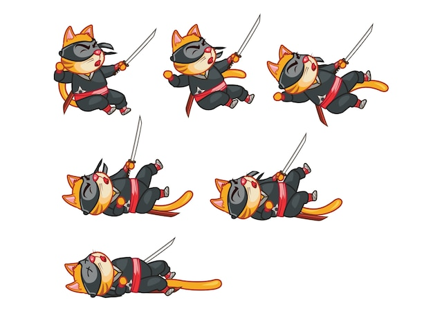 Cat ninja game sprite
