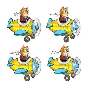Cat pilot flying plane animation sprite