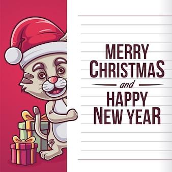 Cat santa case cristmast ano novo