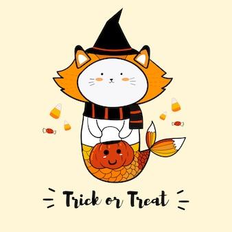 Cat sereia em trajes de bruxa para o dia de halloween