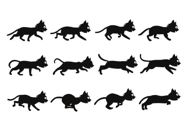 Cat silhouette game animação de personagens sprite